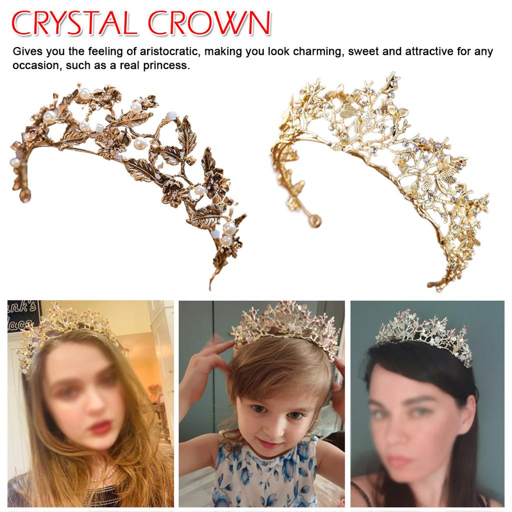 Vintage Wedding Leaf Crown Tiara Beads Headband Hair Accessories Jewelry Set VCN