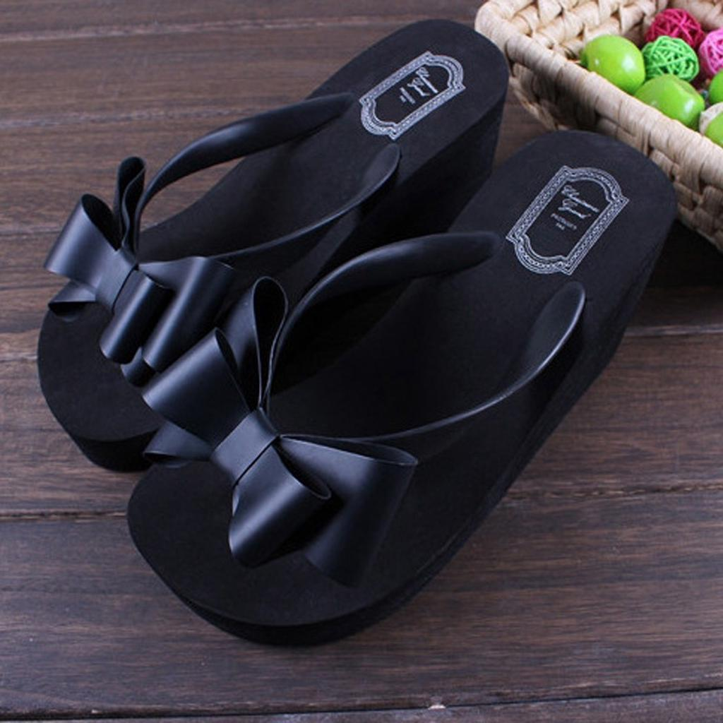 76585a647cd1 Finejo Ladies Summer Platform Flip Flops Thong Wedge Beach Sandals Knotbow  Shoes-buy at a low prices on Joom e-commerce platform