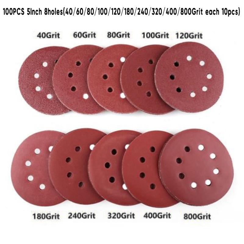 10PCS  Sanding Disc Hook Loop 60-800 Grits Sand Paper Abrasive Sander 8 Holes