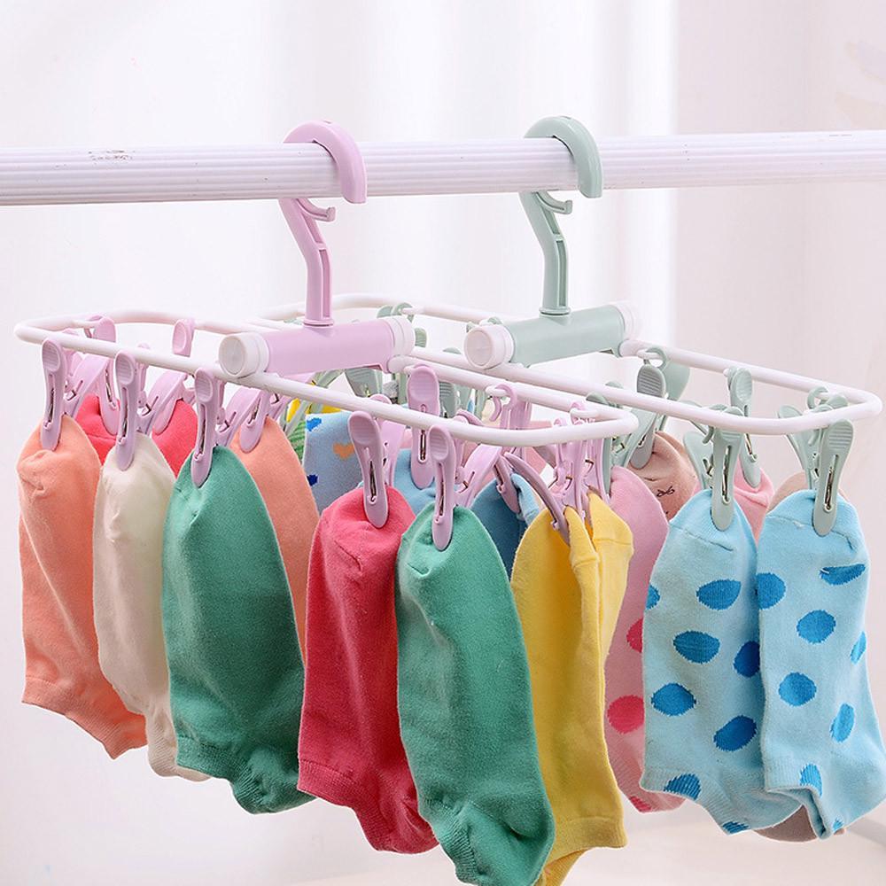 Популярные 12 ролик складной сушки белье носки многофункциональная вешалка фото