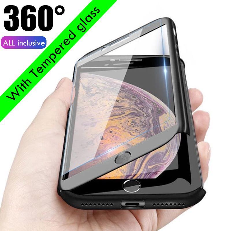 360 ° полная защита телефон чехол назад Обложка + закаленное стекло Флим для iPhone Samsung Huawei Xiaomi