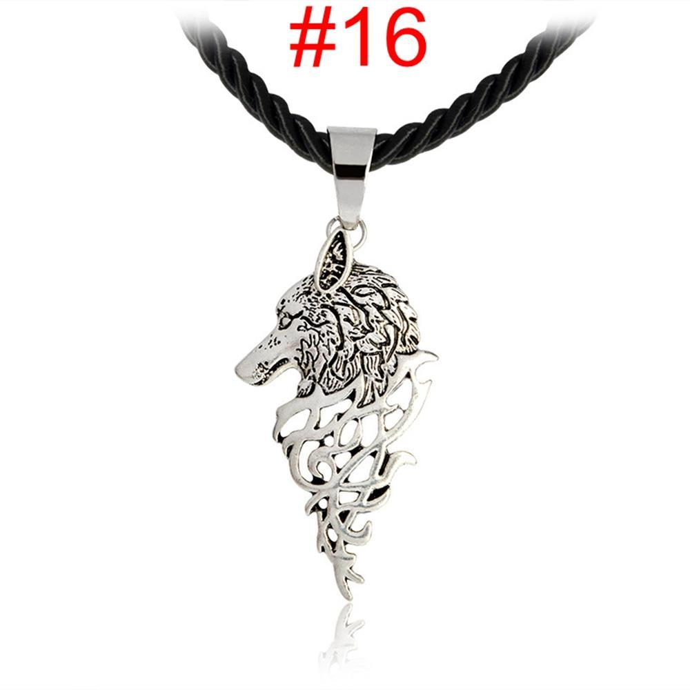 Jewelry Luck Alloy Unisex Norse Vikings Wolf Head Pendant Necklace Leather Rope