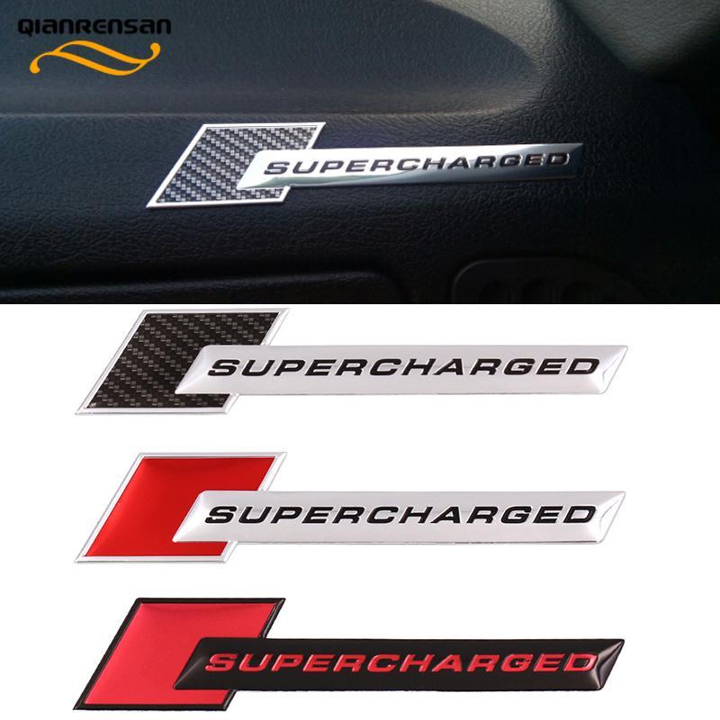 1Pcs Luxury Red SUPERCHARGED Aluminum Car Body Sticker Badge Emblems Decoration