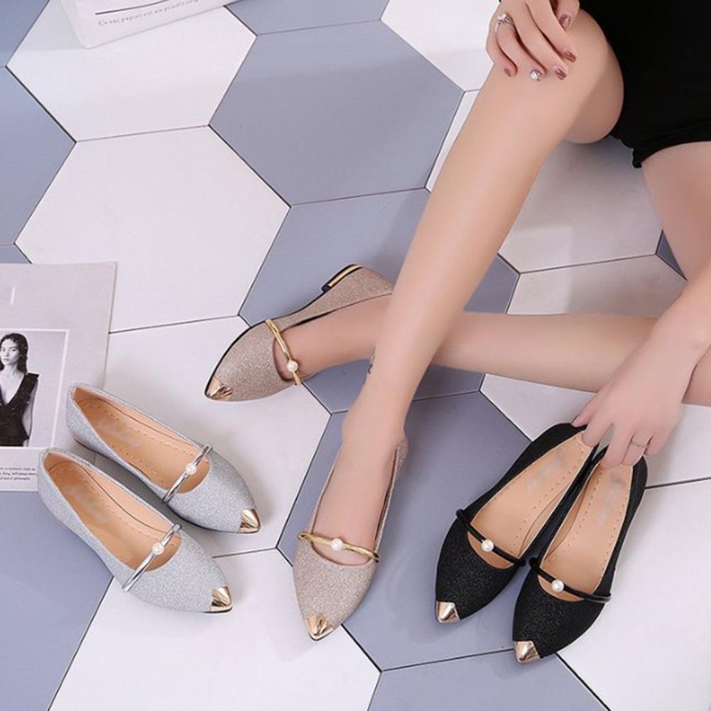 Заостренными низкий каблук Женская матовое плоская обувь мелкий рот один фото