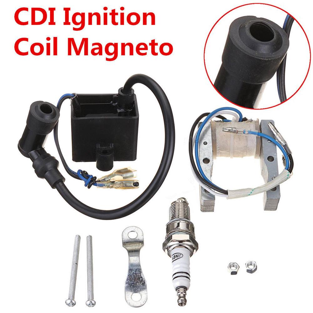 Magneto Coil High Performance CDI Ignition Coil Spark Plug for 49cc-80cc 2-Stroke Engine Motorized Bicycle Bike