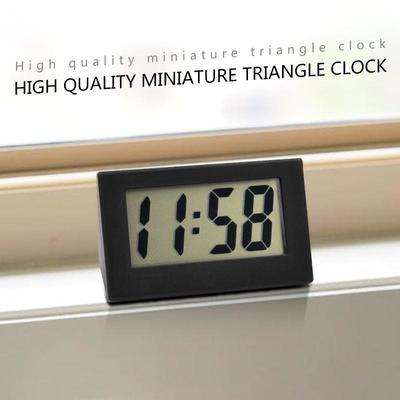 Mini Triangle Digital Electronic Clock Watch LCD Display Home Bedroom Simplicity Bracket