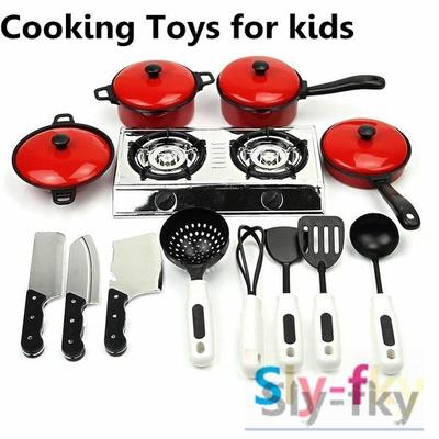 13pcs Kids Play Toy Kitchen Utensils Cooking Pots Pans Food Dishes